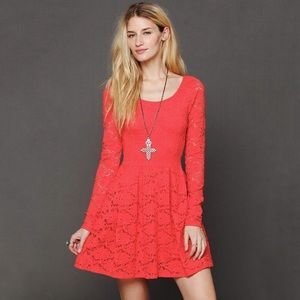 FREE PEOPLE Coral Red Lace Boho Skater Skirt Dress